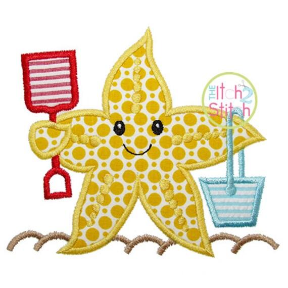 Beach Starfish Applique Design For Machine Embroidery Shown Etsy