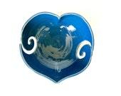 Blue Heart Yarn Bowl, Serenity, Ocean color, Porcelain Bowl