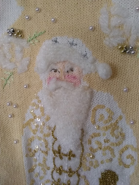 Vintage cardigan sweater 2x Father Christmas butt… - image 7
