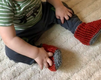 Rust and gray baby booties toddler loafers size 12 months