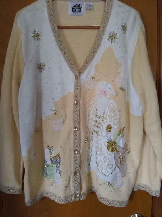 Vintage cardigan sweater 2x Father Christmas butt… - image 1