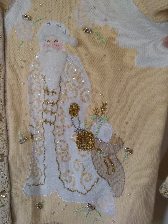 Vintage cardigan sweater 2x Father Christmas butt… - image 8