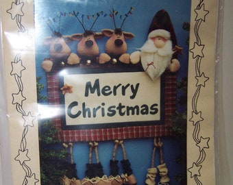 Merry Christmas sign Santa and reindeer sewing pattern