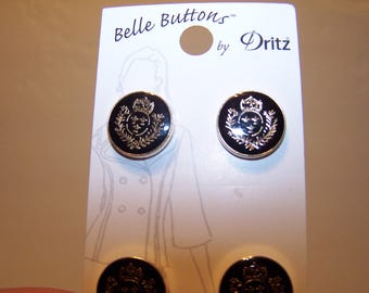 Eight gold and black heraldry buttons