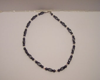 Simple hematite necklace LARP SCA medievalist