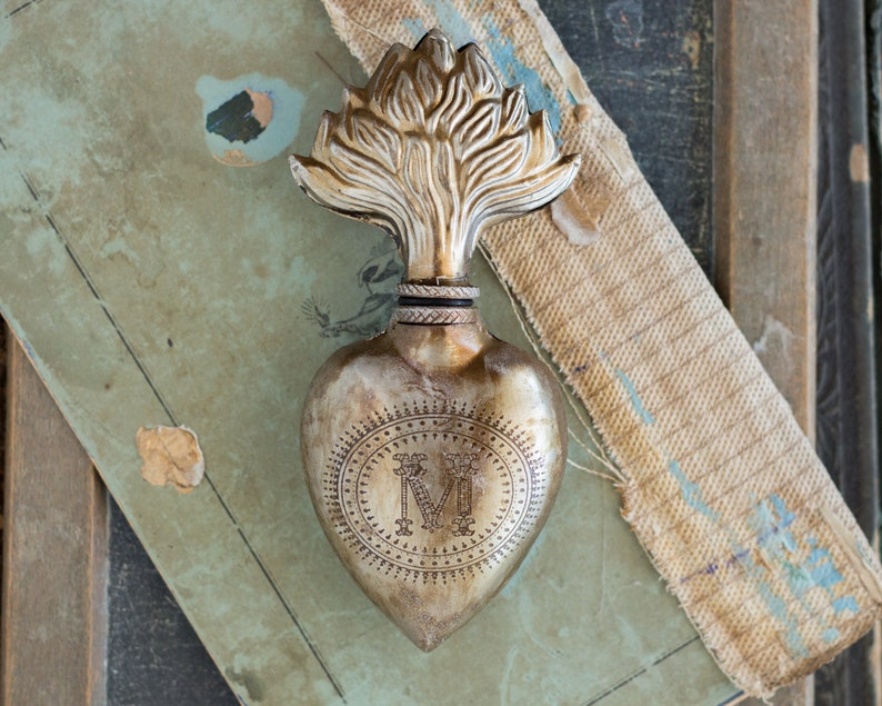 Sacred Heart Silver Heart Milagro image 3