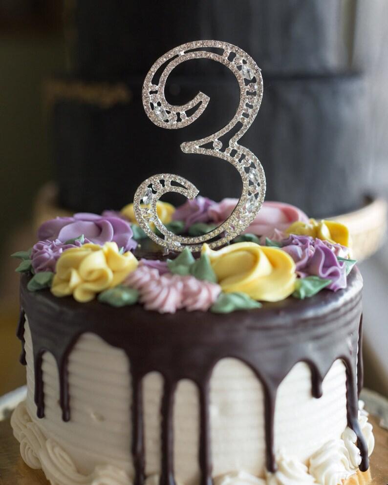 3rd Birthday Cake Topper 3 With Rhinestones Anniversay