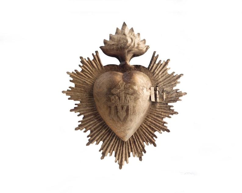 Sacred Heart Milagro Heart Gold Heart Box Catholic Heart image 0