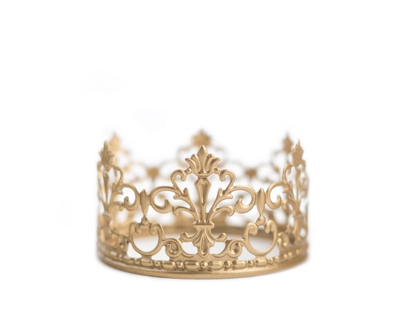 Crown Cake Topper Wedding Cake Topper Gold Crown Mini image 0