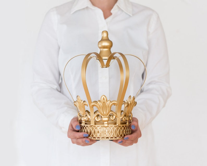 Gold Crown Centerpiece Gold Crown Large wedding cake topper image 1