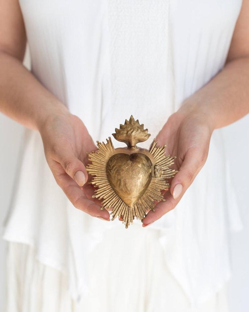 Sacred Heart Milagro Heart Gold Heart Box Catholic Heart image 3