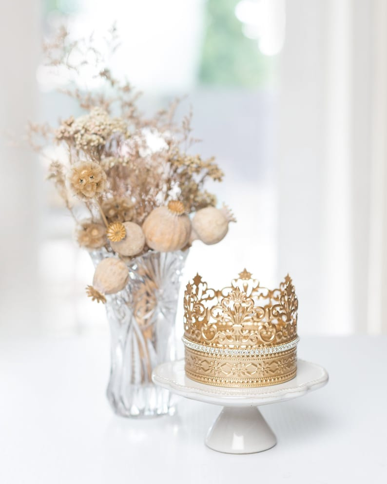 Lovely and whimsical French crown cake topper or centerpiece for your Princess or Marie Antoinette themed parties! #French #partysupplies #crown #princessparty