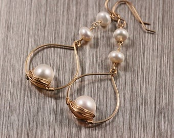 Freshwater Pearl Tear Drop Chandelier Earrings, Gold Filled, Wire Wrapped, White Creamy, June Birthstone, Argentium Sterling Silver
