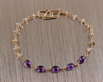 AAA Purple Amethyst Japanese Saltwater Keshi Pearl Bracelet, Keishi, Gold Filled, February June Birthstone, Silver White, Rosary