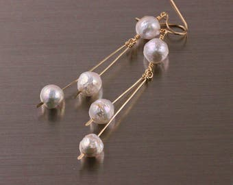 Kasumi Like Pearl Hammered Linear Earrings, Gold Filled Argentium Sterling Silver, Edison Wrinkle Ripple Pearls, White Cream