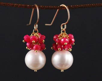 Freshwater Pearl Ruby Earrings, Gold Filled, Gemstone Cluster, White and Pink Raspberry Red, June July Birthstone, Drop Earrings