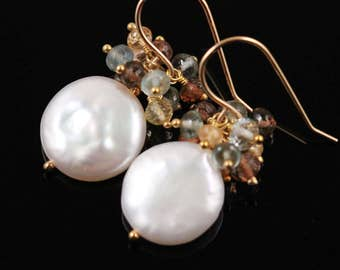 AAA Coin Pearl Earrings, Moss Aquamarine, Andalusite, Imperial Topaz, 14k Gold Filled, March June November Birthstone, Gemstone Cluster