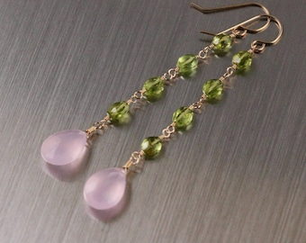 Rose Quartz Peridot Dangly Earrings, Gold Filled, Pink Green Gemstone, Wire Wrapped, August Birthstone, Long Earrings