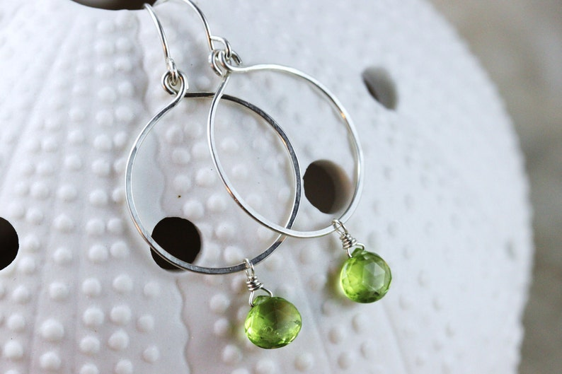 Hand Formed Green Peridot and Argentium Sterling Silver Simple image 0