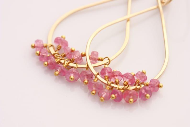 Pink Sapphire Earrings Tear Drop 14k Gold Filled September image 0