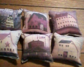 6 pc salt house  ornies decorative bowl fillers primitive shabby tucks