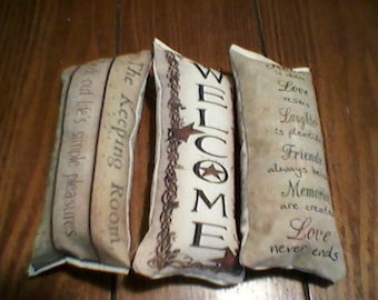 3 pc welcome themed ornies decorative bowl fillers primitive shabby tucks