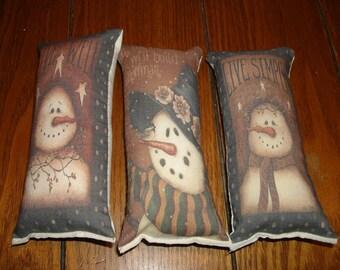 3 pc snowmen themed ornies decorative bowl fillers primitive shabby tucks