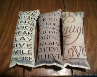 3 pc words to live by themed ornies decorative bowl fillers primitive shabby tucks