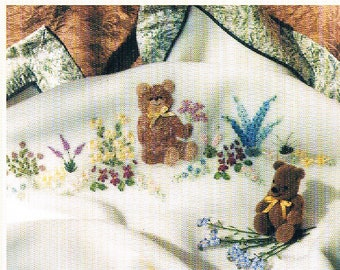 Silk Ribbon Embroidery/ Teddy's Garden - An Embroidered Baby Blanket/Quilt Pattern Designed by Helen Dafter, 1997
