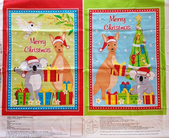 Kangaroos Koala Aussie Christmas Holiday DIY Apron Quilting Fabric Panel