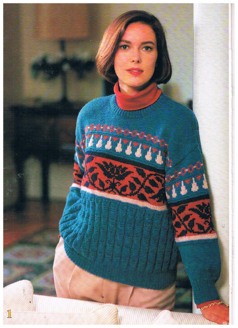 582d7b79d Four Richly Coloured Womens Knitting Patterns in 8 Ply DK