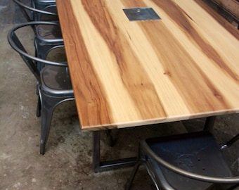 Minimalist Modern Conference and Dining Table //  Metal  Bases // Sun Tanned Poplar