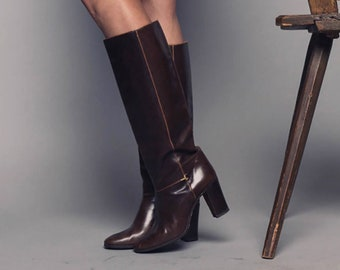 0adde62c4 1970's Gucci Knee High Vintage Leather Boots