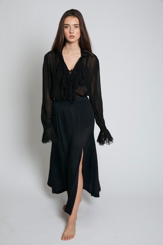 1990's Betsey Johnson Black Slit Skirt