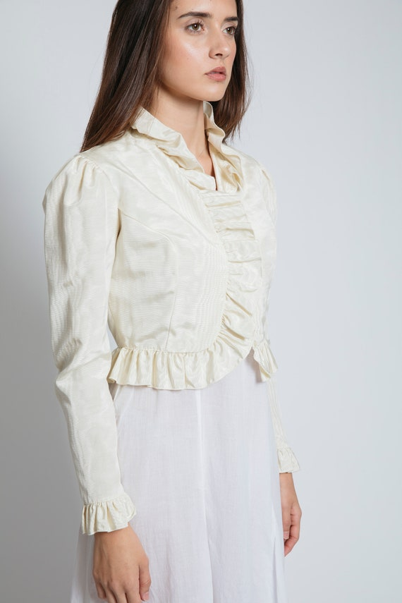 1980's Ruffled Jacquard Cropped Blouse