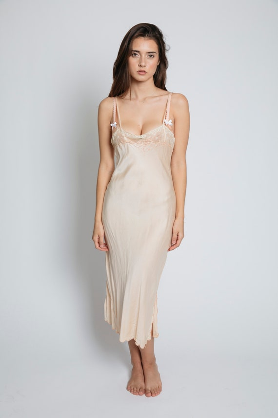 PEACHY SILK Slip Dress