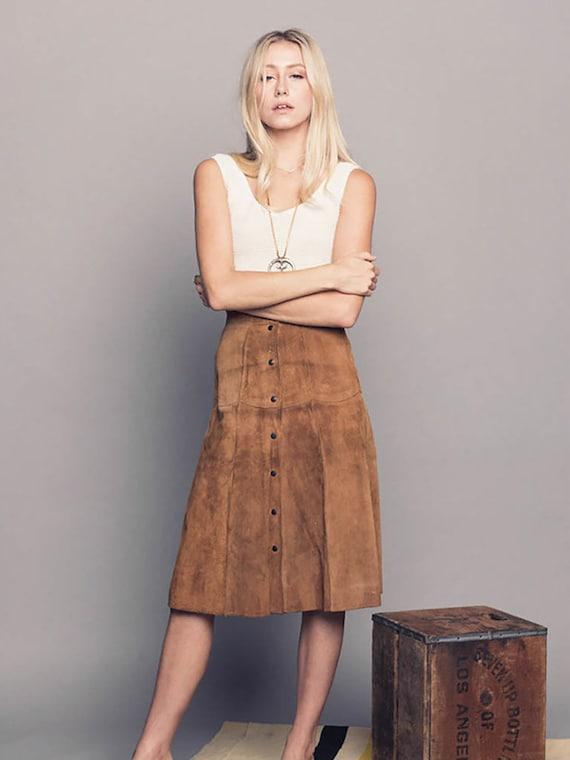 1960's Suede Midi Skirt