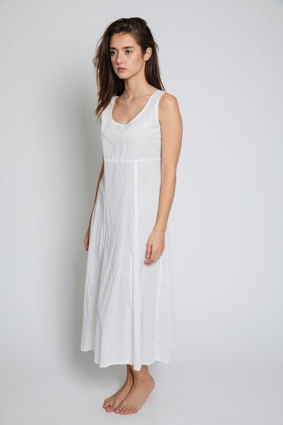 1970's White Cotton Sleeveless Maxi Dress