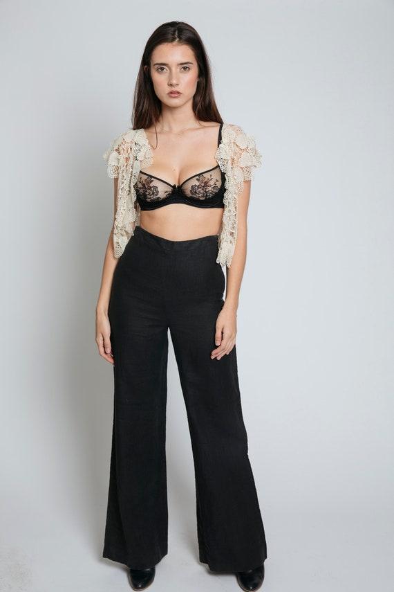 1990's Linen High-Waisted Black Pants