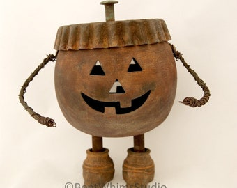 Ghoul Aid Man - Rusty Pumpkin Metal Art Robot