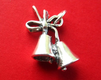 Sterling Silver Wedding  Bells  Pendant Charm