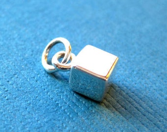 Sterling Silver Cube 3D  Stamping  Charm