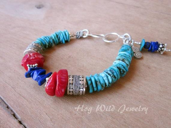 Western Turquoise Coral Lapis Silver Bracelet Handcrafted Bracelets Ranch Artisan Women/'s Bracelet Southwest Cow Girl
