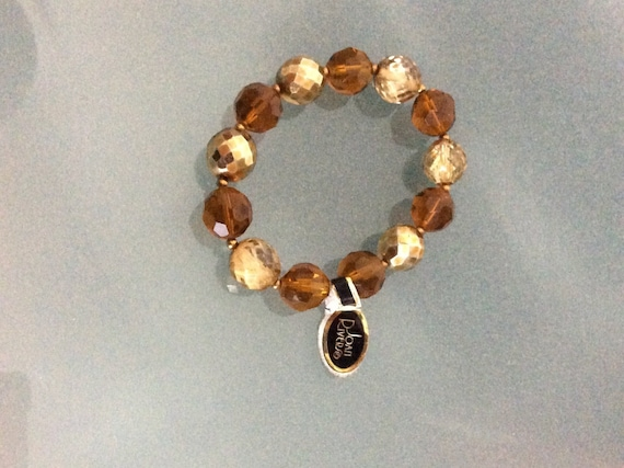 Vintage Joan Rivers Beaded Bracelet Brown Gold