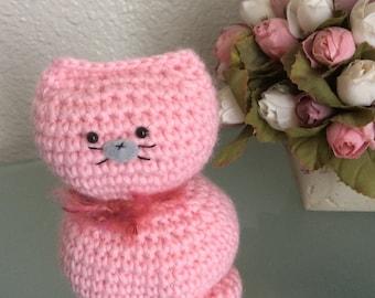 Pink Cat Amigurumi Crochet Handcraft Toy