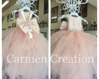 6bda6dd0968 Mini Bride Flower Girl Dress Blush Pink. CarmenCreation