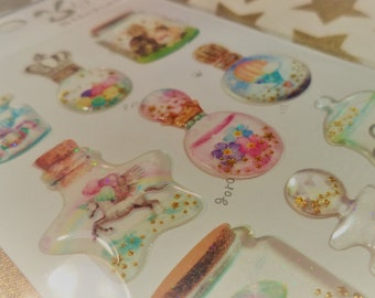 3D Kawaii Puffy Fancy Glass Pastel Sticker Sheet For Snail mail, cards, gifts, planners, photos, cell phones, diy, school, scrapbooking.