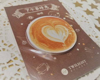 30 sheets Yummy Coffee Heart Sticky Note Pad stationery, homework, school supplies, paper, diy, snail mail, letters, notes, packing slips.