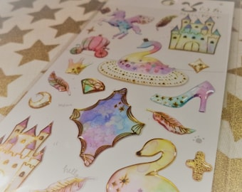 3D Kawaii Puffy Swan Castle Pastel Sticker Sheet For Snail mail, cards, gifts, planners, photos, cell phones, diy, school, scrapbooking.