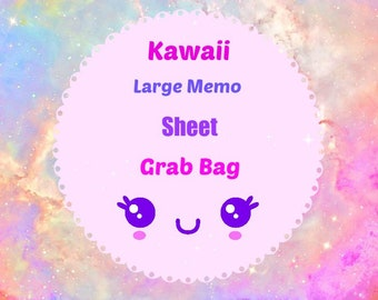 30 Pc. Kawaii Large Memo Sheet Grab Bag Stationery Homework School Supplies, Paper Supplies, Snail mail, Notes, Scrapbooking, Packing Slips.
